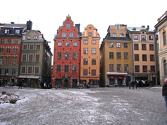 Culture in Stockholm - Historical buildings at Stortorget in Gamla Stan.