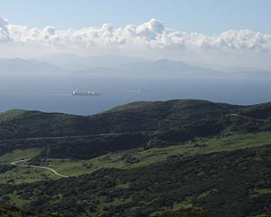 Strait of Gibraltar - A view across the Strait of Gibraltar taken from the hills above Tarifa, Spain