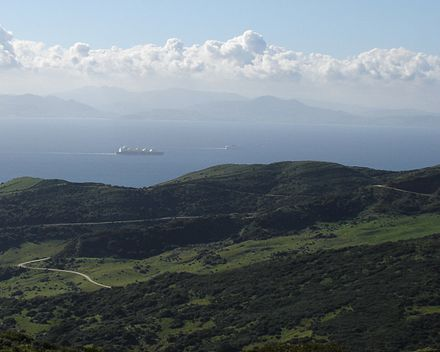 A view across the Strait of Gibraltar taken from the hills above Tarifa, Spain StraitOfGibraltar.JPG