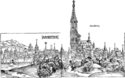 Woodcut of a walled mediaeval city, dominated by a cathedral, labelled Stra