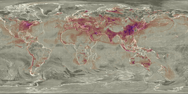 Sulfur dioxide in the world on April 15, 2017. Note that sulfur dioxide moves through the atmosphere with prevailing winds and thus local sulfur dioxide distributions vary day to day with weather patterns and seasonality.