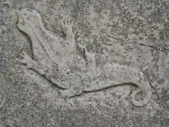 Aughton, East Riding of Yorkshire - newt carved in sunk relief, 2008