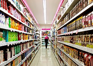 Fast-moving consumer goods - Store aisle of fast moving consumer goods