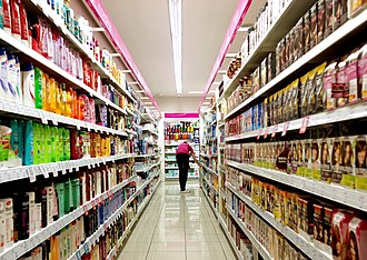 A typical supermarket carries an assortment of between 30,000 and 60,000 different products Supermarket full of goods.jpg
