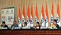 Sushma Swaraj addressing a press conference on the forthcoming 13th Pravasi Bharatiya Divas (PBD)-2015 to be held from 7-9 January 2015 at Gandhinagar, Gujarat, in New Delhi. The Chief Minister of Gujarat.jpg