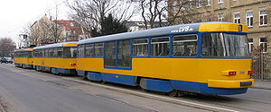 Leipziger Verkehrsbetriebe - LVB three-car formation (Großzug) of modernized Tatra T4D-M stock with reconstructed low-floor trailer