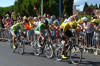 2016 Tour de France - Chris Froome (yellow jersey) and Peter Sagan (green jersey), along with one teammate each, formed a breakaway in the final kilometers of stage eleven, with Sagan victorious and Froome gaining time on his rivals.