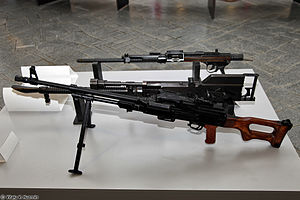 PK machine gun - Front to back: PKM prototype, model of Shpitalniy tank machine gun prototype, TKB-264