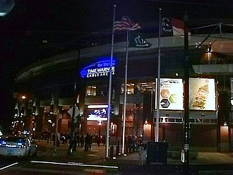 Spectrum Center (arena) - The arena in 2008, with its first logo as Time Warner Cable Arena