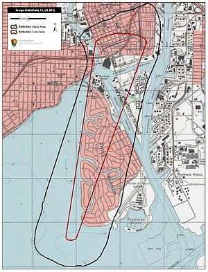 Battle of Tampa - Map of Tampa Battlefield core and study areas by the American Battlefield Protection Program.