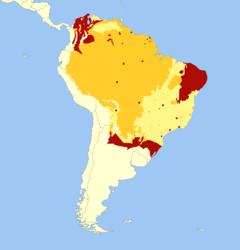 Distribuição geográfica da anta-brasileira. Extinta Presente Provavelmente presente