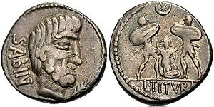 Tarpeian Rock - The torture of Tarpeia. Roman Republican coinage (denarius), 89 BC.