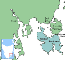 Map showing the location of Tasman Peninsula