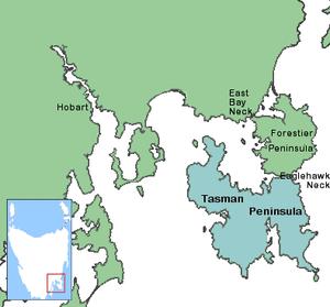 Forestier Peninsula - Image: Tasman Peninlsula map