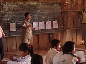 Education in Laos - Teacher in a primary school in northern Laos