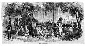"History of education - Primary School in ""open air"". Teacher with class, from the outskirts of Bucharest, around 1842."