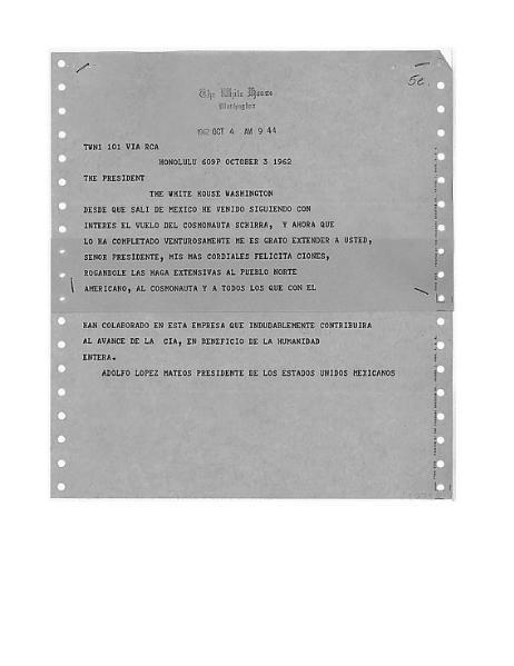 File:Telegram, President Mateos to President Kennedy October 3, 1962.djvu