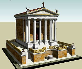 Temple of Caesar building in Roman Forum, Italy