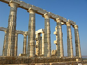 Attica - The Temple of Poseidon (c.440 BC) at Cape Sounion, the southernmost point of Attica.
