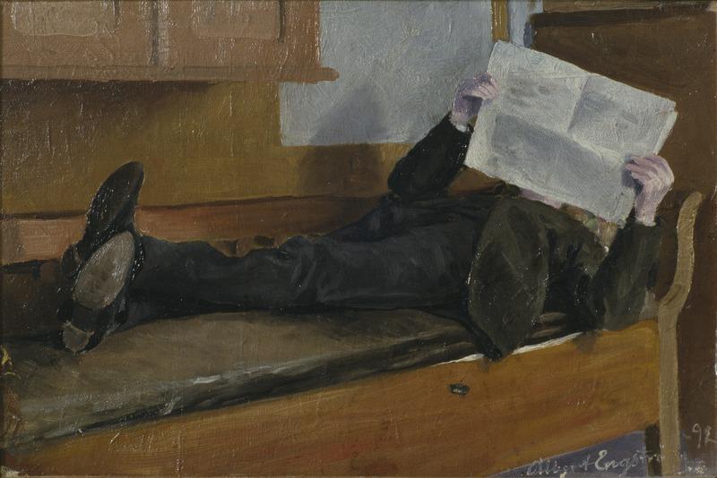 The Artist's Father, Reading a Newspaper (Albert Engström) - Nationalmuseum - 20996
