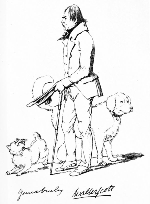 "Sketch of Walter Scott, author of ""Waverley,"" as published in ""The Maclise Portrait-Gallery"""