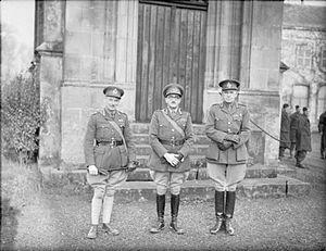 Dudley Graham Johnson - Major General Bernard Montgomery (left), Lieutenant General Sir Alan Brooke (centre), and Major General Dudley Johnson (right) in France, c.1939–40.