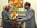 The Cabinet Secretary, Shri Ajit Kumar Seth greeting the Vice President, Shri Mohd. Hamid Ansari, on the occasion of New Year, in New Delhi on January 02, 2015.jpg