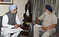 The Chief Minister of Punjab, Shri Prakash Singh Badal meeting the Prime Minister, Dr. Manmohan Singh, in Chandigarh on September 14, 2013.jpg