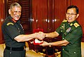 The Chief of Army Staff, General Bipin Rawat and the Deputy Commander-in-Chief, Myanmar Defence Services & Commander-in-Chief (Army), Vice Senior General Soe Win exchanging the mementos, in New Delhi on September 18, 2018.JPG