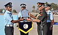 The Chief of the Army Staff, General V.K. Singh presenting the President's Plaque to the Flying Officer Kamal Kumar Mishra, for standing first in overall order of merit in Ground Duties Branch, at Air Force Academy, Dundigal.jpg