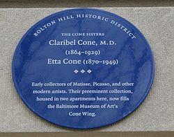 Photo of Claribel Cone and Etta Cone blue plaque