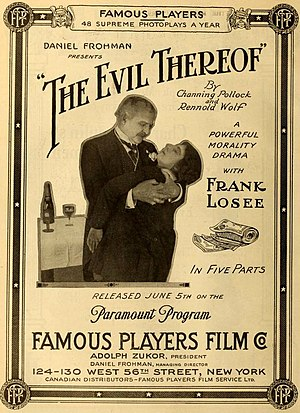 The Evil Thereof (1916 film) - Advertisement for The Evil Thereof