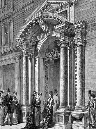 Grosvenor Gallery - Entrance of the Grosvenor Gallery, wood-engraving published in The Graphic, 19 May 1877.