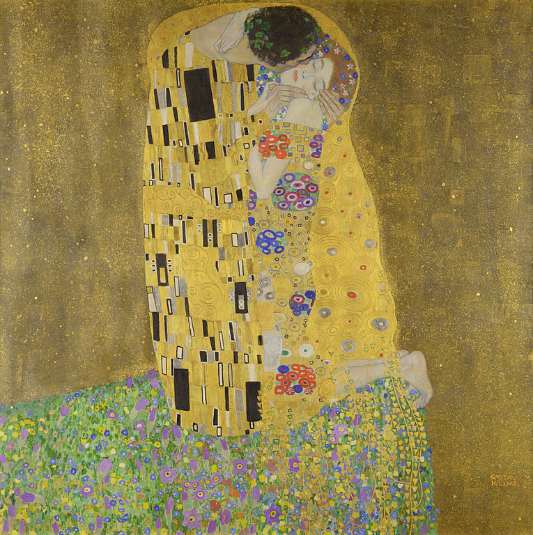 https://commons.wikimedia.org/wiki/File:The_Kiss_-_Gustav_Klimt_-_Google_Cultural_Institute.jpg  Gustav Klimt: The Kiss  wikidata:Q698487 reasonator:Q698487  Artist  Gustav Klimt  (1862–1918) Blue pencil.svg wikidata:Q34661 q:es:Gustav Klimt Gustav Klimt: The Kiss Title  The Kiss (Der Kuß) Object type painting Edit this at Wikidata Genre portrait Edit this at Wikidata Date 1907–1908 Medium oil on canvas Dimensions 180 × 180 cm (70.8 × 70.8 in) Collection  Belvedere  Blue pencil.svg wikidata:Q303139 Current location  Upper Belvedere Accession number  912 (Belvedere) Edit this at Wikidata Exhibition history       Europeana 280 Edit this at Wikidata  References described by source: 1001 Paintings You Must See Before You Die, pp. 589  Edit this at Wikidata Source/Photographer Google Art Project