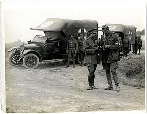 Barwani State - Maharaja Ranjit Singh of Barwani (1888 - 1930) with ambulance cars in Merville, France, during World War I