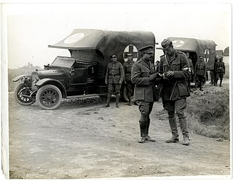 Barwani State - Maharaja Ranjit Singh of Barwani (1888 - 1930) with ambulance cars in Merville, France, during World War I