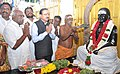 The Minister of State for Defence, Shri Subhash Ramrao Bhamre with the Minister of State for Road Transport & Highways and Shipping, Shri P. Radhakrishnan paying tributes to Pasumpon Muthuramalinga Thevar, in Madurai.jpg