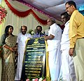 The Minister of State for Road Transport & Highways and Shipping, Shri P. Radhakrishnan unveiling the plaque to lay the foundation stone for Income Tax office building and residential quarters, at Nagercoil, Tamil Nadu.jpg
