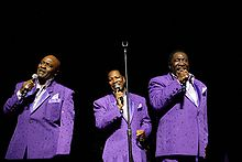 The O'Jays (Walter Williams, Eric Grant, and Eddie Levert) perform at the Arie Crown Theater in Chicago, April 2010.