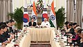 The Prime Minister, Shri Narendra Modi and the President of the Republic of South Korea, Mr. Moon Jae-in at the India-ROK CEO's Roundtable meeting, at Hyderabad House, in New Delhi on July 10, 2018 (1).JPG