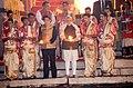 The Prime Minister, Shri Narendra Modi and the Prime Minister of Japan, Mr. Shinzo Abe performing the Ganga Aarti at Dashashwamedh Ghat, in Varanasi, Uttar Pradesh on December 12, 2015.jpg