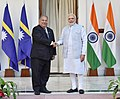 The Prime Minister, Shri Narendra Modi meeting the President of the Republic of Nauru, Mr. Baron Waqa, on the sidelines of the International Solar Alliance (ISA) Summit, at Hyderabad House, in New Delhi on March 10, 2018.jpg