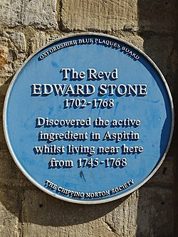 The revd edward stone 1702 1768 discovered the active ingredient in aspirin whilst living near here from 1745 1768