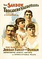 The Sandow Trocadero Vaudevilles present the marvelous Jordan Family and Dunham, promotional poster, 1894.jpg
