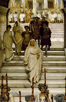 The Triumph of Titus, by Sir Lawrence Alma-Tadema (1885). The composition suggests a love affair between Titus and Domitian's wife Domitia Longina (see below).