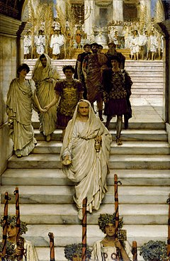 The Triumph of Titus, by Sir Lawrence Alma-Tadema (1885). The composition alludes to the rumoured love affair between Titus (back left) and Domitia Longina (left, next to Domitian).