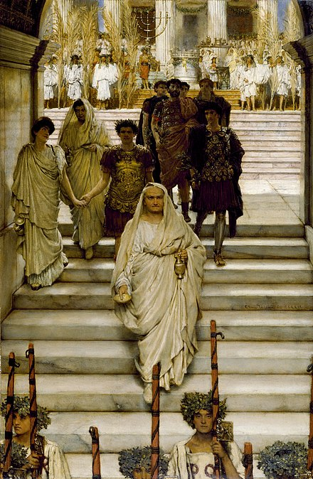The Triumph of Titus, by Sir Lawrence Alma-Tadema (1885), depicting the Flavian family during the triumphal procession of 71. Vespasian proceeds at the head of the family, dressed as pontifex maximus, followed by Domitian with Domitia Longina, and finally Titus, also dressed in religious regalia. An exchange of glances between Titus and Domitia suggests an affair upon which historians have speculated. Alma-Tadema was known for his meticulous historical research on the ancient world. The Triumph of Titus Alma Tadema.jpg