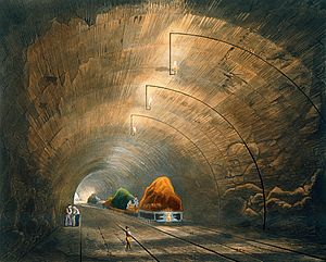 Wapping Tunnel - 1833 view of the tunnel, lit by gas-lights