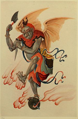 Yellow Emperor - The eagle-faced Thunder God (雷神 Léishén) in a 1923 drawing, punisher of those who go against the order of Heaven.