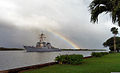 The guided missile destroyer USS Russell (DDG 59) leaves Joint Base Pearl Harbor-Hickam, Hawaii 130103-N-XD424-001.jpg